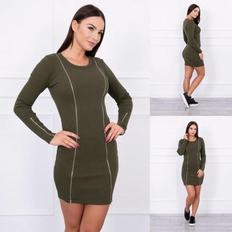 Dámské elastické šaty se zipy - Khaki