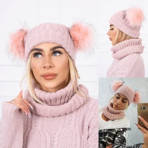 Dámská sada čepice a nákrčníku Rozie - Pink