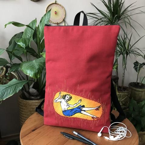 Komiks batoh na laptop - červený