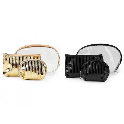 Kosmetická taška průhledná a metalická, sada 3 ks