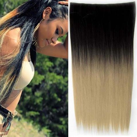 Clip in vlasy - rovný pás - ombre - odstín Black T 16