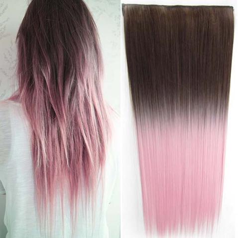 Clip in vlasy - rovný pás - ombre - odstín 8 T Light Pink