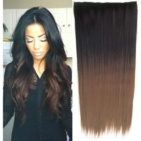 Clip in vlasy - rovný pás - ombre - odstín Black T 8