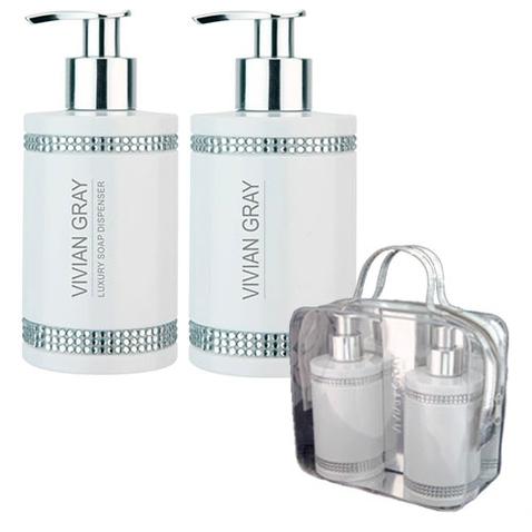 Dárková sada VIVIAN GRAY CRYSTALS WHITE - tekuté mýdlo + tělové mléko 250 ml