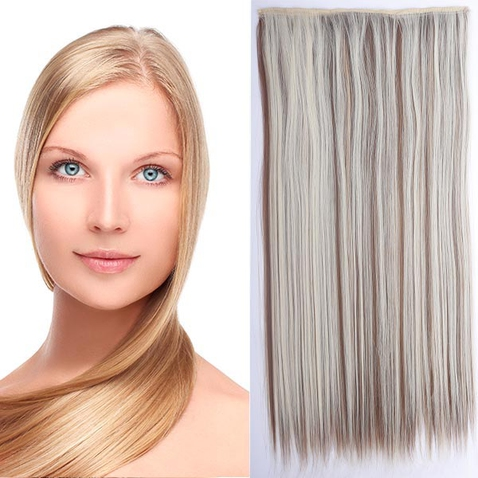 Clip in vlasy - 60 cm dlouhý pás vlasů - odstín F12/613