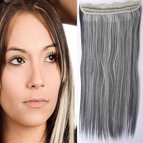 Clip in vlasy - 60 cm dlouhý pás vlasů - odstín 1B/613
