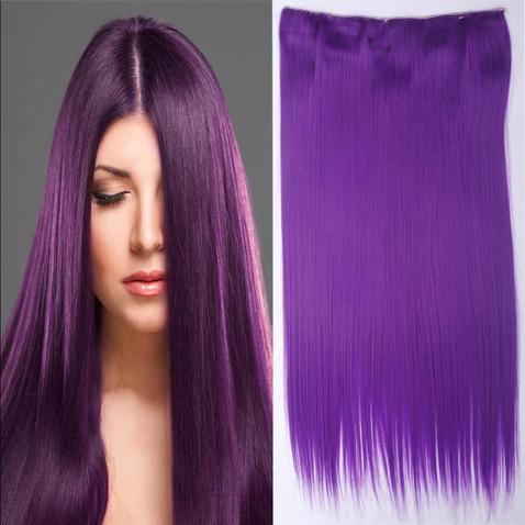 Clip in vlasy - 60 cm dlouhý pás vlasů - odstín Purple