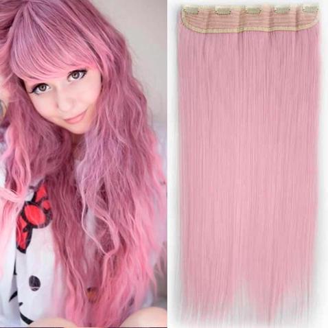 Clip in vlasy - 60 cm dlouhý pás vlasů - odstín Light Pink