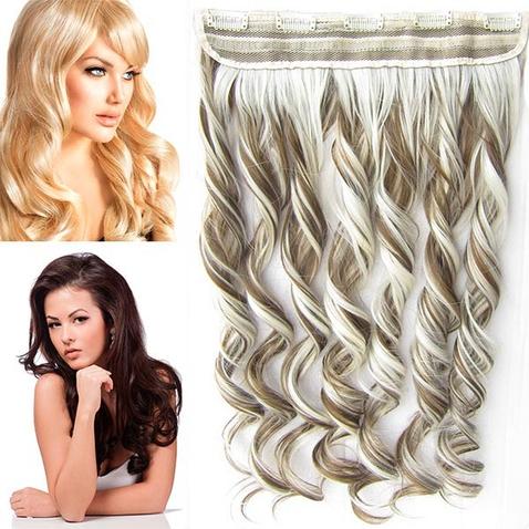 Clip in pás vlasů - lokny 55 cm - odstín F6P/613
