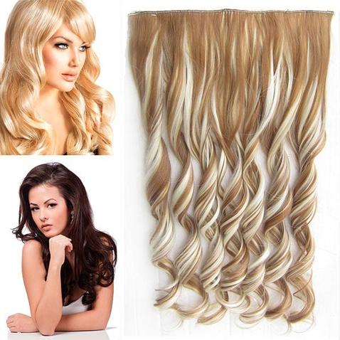 Clip in pás vlasů - lokny 55 cm - odstín F613/27