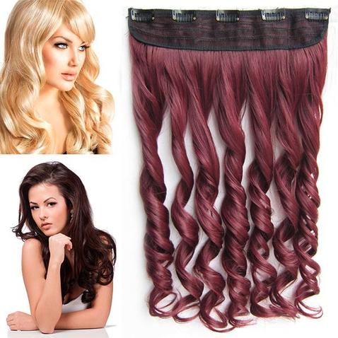 Clip in pás vlasů - lokny 55 cm - odstín 99J