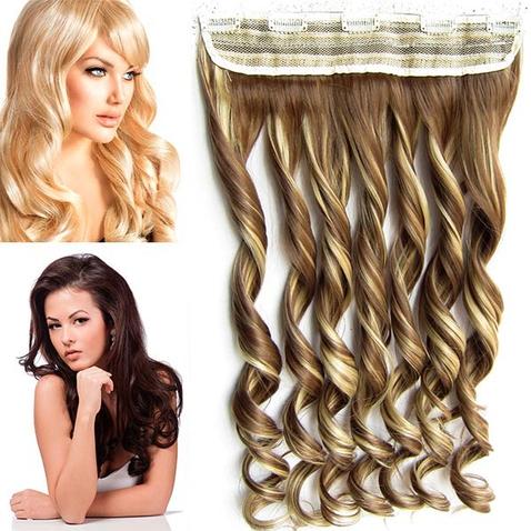 Clip in pás vlasů - lokny 55 cm - odstín F10/22
