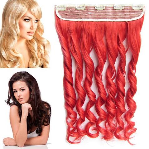 Clip in pás vlasů - lokny 55 cm - odstín RED