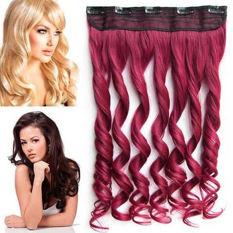 Clip in pás vlasů - lokny 55 cm - odstín Burg