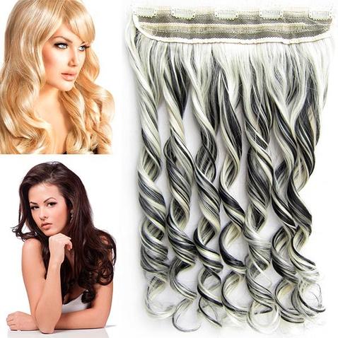 Clip in pás vlasů - lokny 55 cm - odstín 1B/613