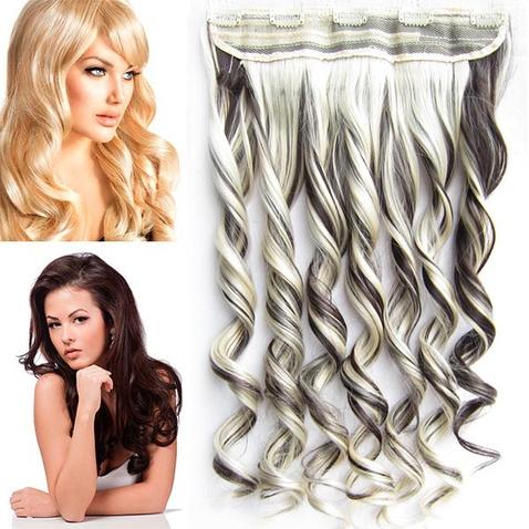 Clip in pás vlasů - lokny 55 cm - odstín F6/613