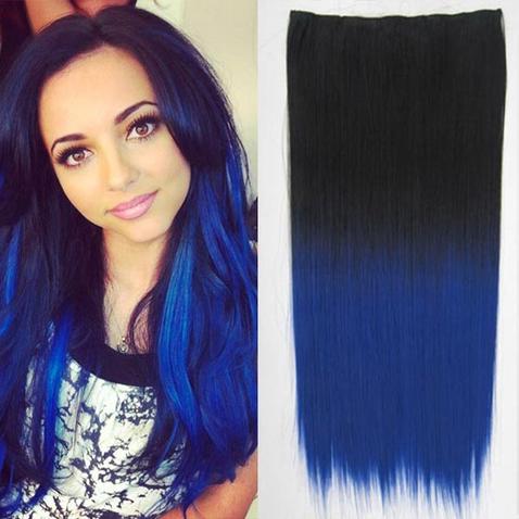 Clip in vlasy - rovný pás - ombre - odstín Black T Blue
