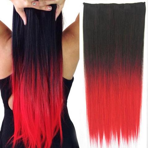 Clip in vlasy - rovný pás - ombre - odstín Black T Red