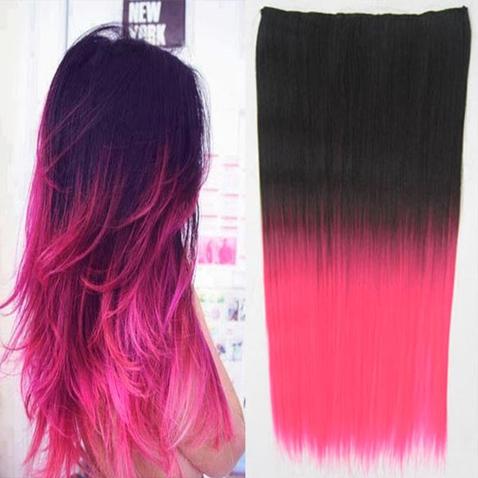 Clip in vlasy - rovný pás - ombre - odstín 2 T Pink
