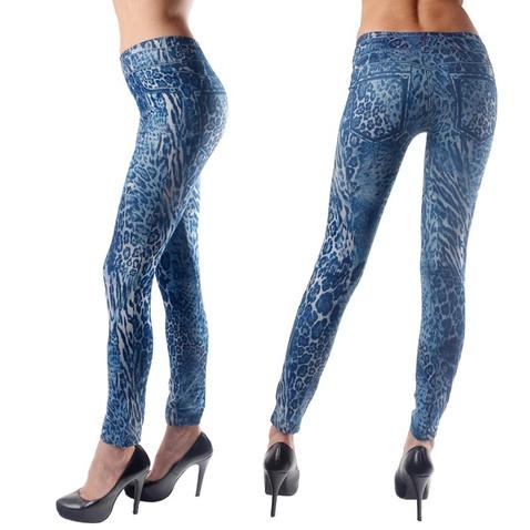 Dámské džínově - modré legínové kalhoty s gepardím vzorem