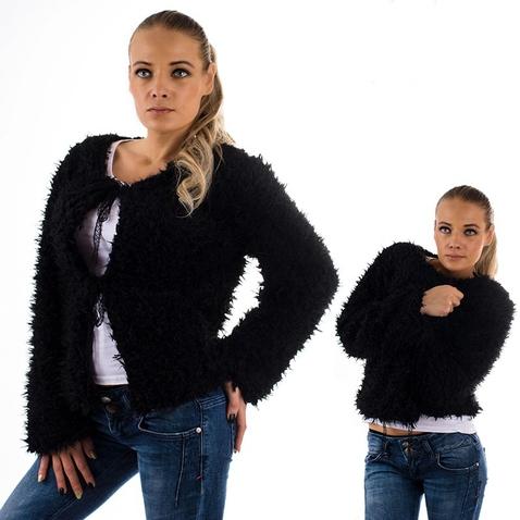 Střapatá bolérková mikina - černá