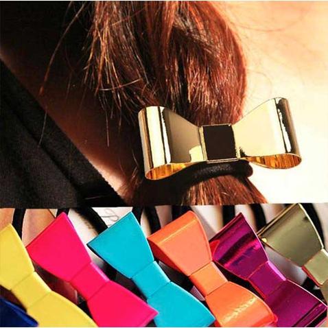 Spona pro tvorbu copu kovová mašlička v MOCCA barvách