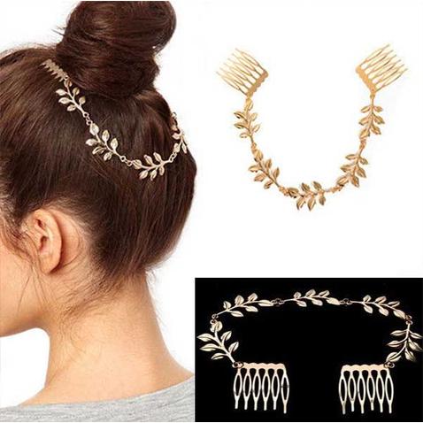 Čelenka do vlasů se zlatými listy a sponami