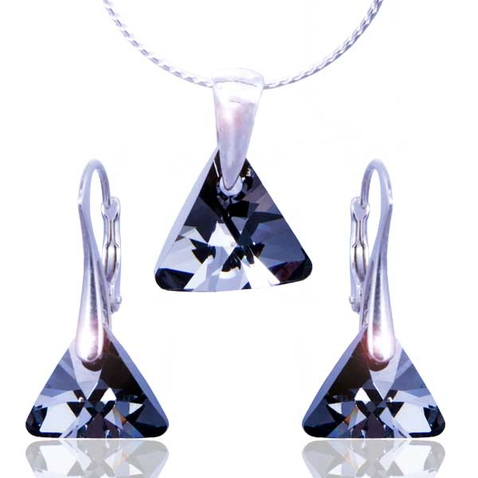 Souprava Swarovski elements – Triangle - Silver Night