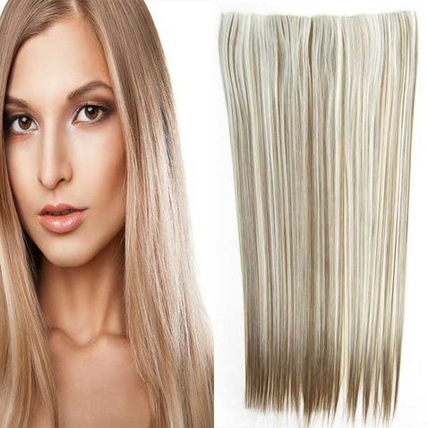 Clip in vlasy - 60 cm dlouhý pás vlasů - odstín F6P/613