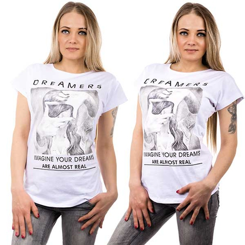 Bílé tričko s motivem dreamers