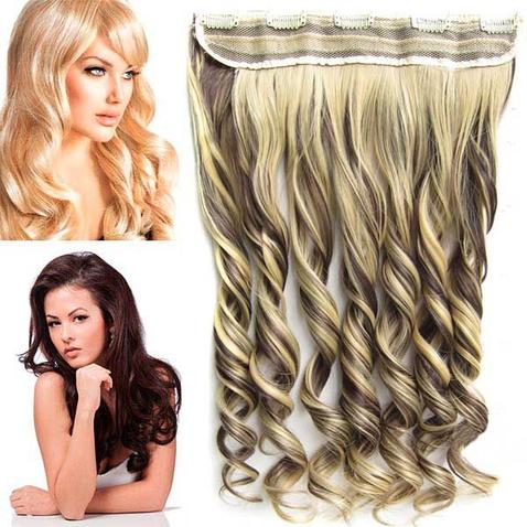 Clip in pás vlasů - lokny 55 cm - odstín F4/22
