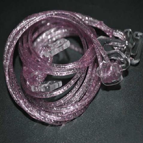 Silikonová ramínka k podprsence Makaron - růžová s glitrama