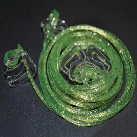 Silikonová ramínka k podprsence Makaron - zelená s glitrama
