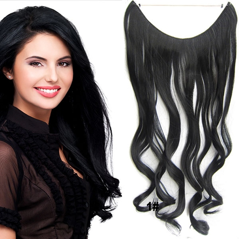 Flip in vlasy - vlnitý pás vlasů 45 cm - odstín 1#