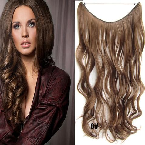 Flip in vlasy - vlnitý pás vlasů 45 cm - odstín 8