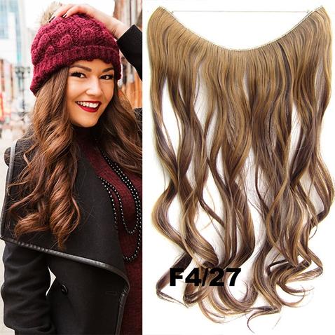 Flip in vlasy - vlnitý pás vlasů 45 cm - odstín F4/27