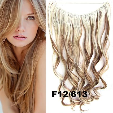 Flip in vlasy - vlnitý pás vlasů 45 cm - odstín F12/613