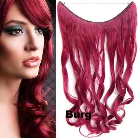 Flip in vlasy - vlnitý pás vlasů 45 cm - odstín BURG