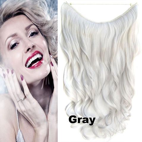 Flip in vlasy - vlnitý pás vlasů 45 cm - odstín GRAY
