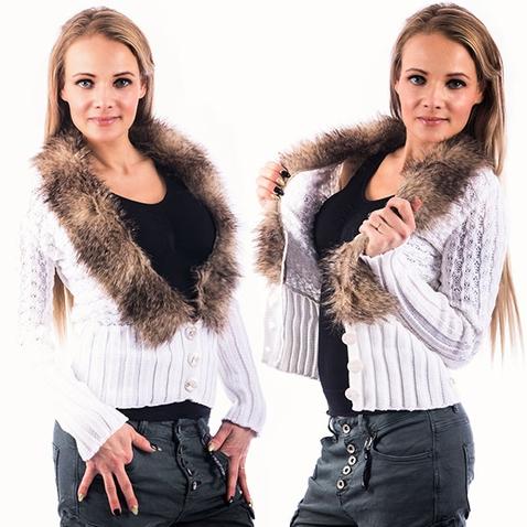 Dámský elegantní svetřík s kožešinovým límcem - bílý
