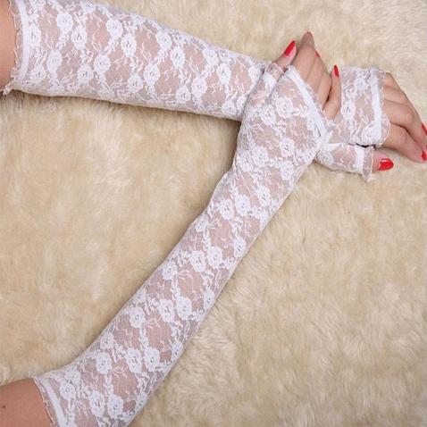 Společenské, krajkové rukavice bez prstů - 34 cm