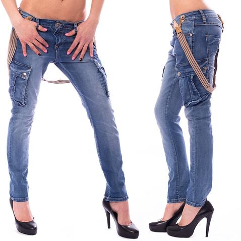 Dámské jeans kapsáče s kšandami
