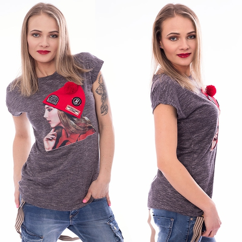 Dámské tričko s módní aplikací CAP - tmavě šedé