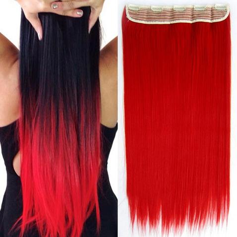 Clip in vlasy - 60 cm dlouhý pás vlasů - odstín Red