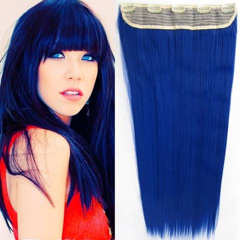Clip in vlasy - 60 cm dlouhý pás vlasů - odstín Sea Blue
