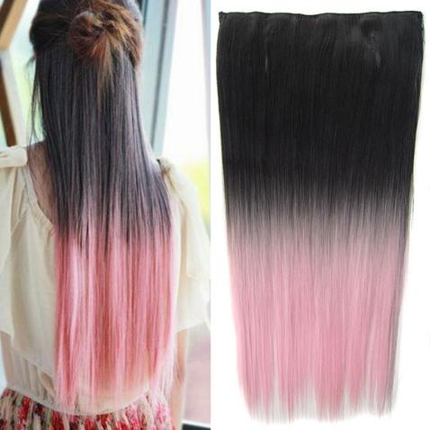 Clip in vlasy - rovný pás - ombre - odstín Black T Light Pink