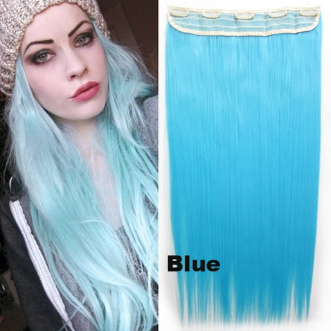 Clip in vlasy - 60 cm dlouhý pás vlasů - odstín Blue