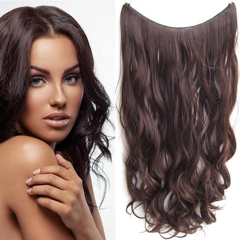 Flip in vlasy - vlnitý pás vlasů 55 cm - odstín 4