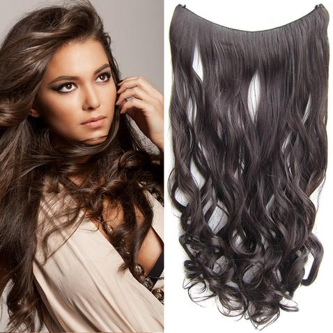 Flip in vlasy - vlnitý pás vlasů 55 cm - odstín 6