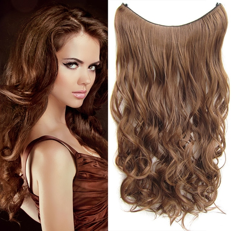 Flip in vlasy - vlnitý pás vlasů 55 cm - odstín 12
